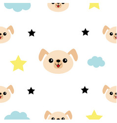 Dog head hands cloud star shape cute cartoon vector