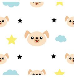 dog head hands cloud star shape cute cartoon vector image