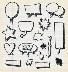 doodle speech bubbles and elements set vector image