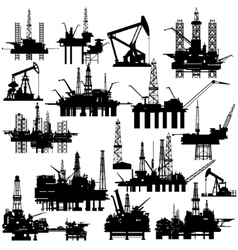 Drilling rigs and oil pumps vector