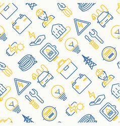 electricity seamless pattern with thin line icons vector image