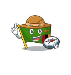 Explorer flag zambia cartoon hoisted in pole vector