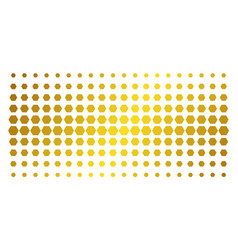 Filled hexagon gold halftone pattern vector