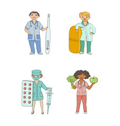 flat cartoon doctors therapists with huge objects vector image
