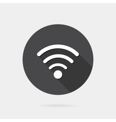 Flat wireless icon with long shadow vector