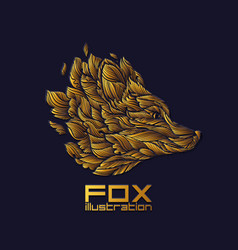 Fox or wolf design icon logo luxury gold vector
