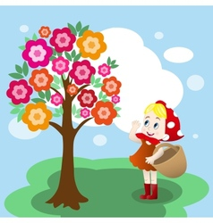 Girl under tree vector image