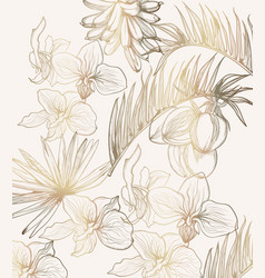 Golden tropic flowers line art summer floral vector