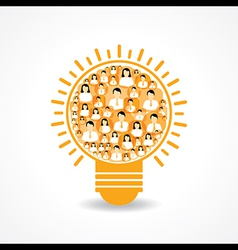 Group of male and female icons make a light-bulb vector image