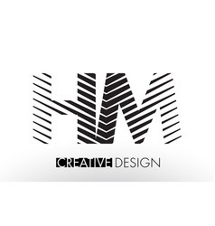 hm h m lines letter design with creative elegant vector image