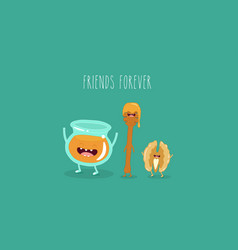 honey and walnuts friends vector image