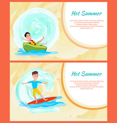 hot summer colorful image water sports activity vector image
