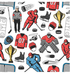 Ice hockey sport game seamless pattern vector