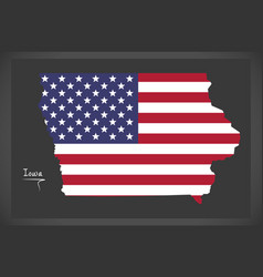 Iowa map with american national flag vector