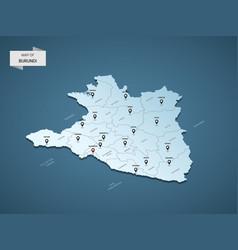 isometric 3d burundi map concept vector image