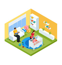 Isometric baby room interior concept vector
