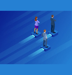 Isometric business leader and teamwork business vector
