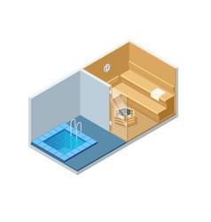 isometric sauna interior and cold pool empty vector image