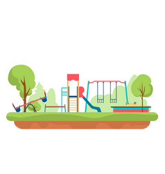 kids playground with playing equipment in park vector image