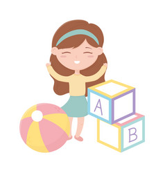 Kids zone cute little girl with abc bocks and vector