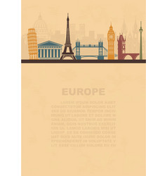 Layout leaflets with sights europe vector