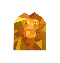 Lion head front low polygon vector
