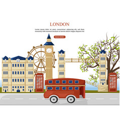 London travel bus architecture facades on vector