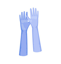 Long blue gloves on a white vector