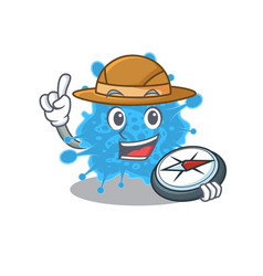 Mascot andecovirus explorer with a compass vector