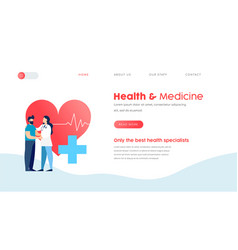 medical landing page template for web doctor vector image