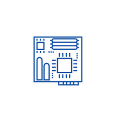 motherboard line icon concept motherboard flat vector image