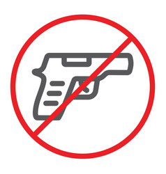 No gun line icon prohibited and restriction no vector