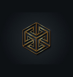 Optical illusion gold impossible cube 3d logo vector