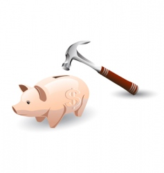 piggy bank and hammer vector image