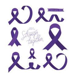 Purples ribbons and stranger together text of vector