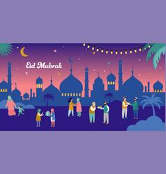 Ramadan kareem eid mubarak greeting card vector