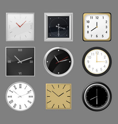 realistic wall clocks round and square clocks vector image