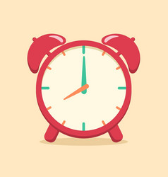 Red analog alarm clock school supplies vector