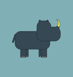 Rhino animal silhouette vector