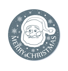 Round christmas greeting with santa face grey vector