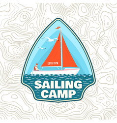 sailing camp patch concept for shirt vector image