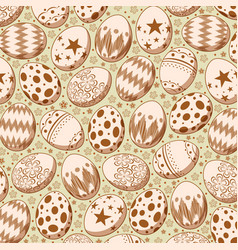 seamless pattern on brown easter egg background vector image