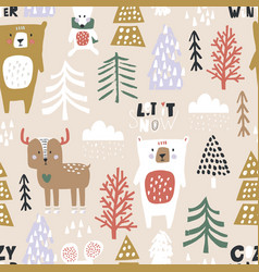seamless winter pattern with bear deer mouse vector image