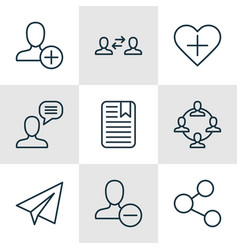 Set of 9 communication icons includes startup vector