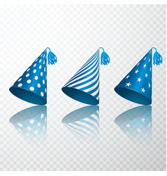 set of blue birthday hat birthday paper cone cap vector image