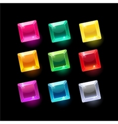 Set of cartoon square different shapes crystals vector image