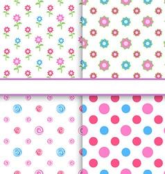 Set of floral and polka dot fabric seamless vector image