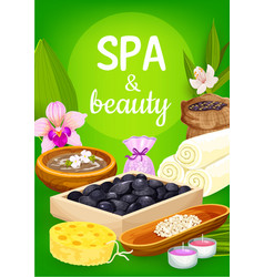 spa massage stones towels candles and flowers vector image