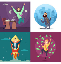 Successful funny and happy businessmen in active vector