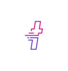 T letter dash lowercase tech digital fast quick vector